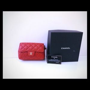 New Authentic Chanel Clutch Bag Red Flap cosmetic